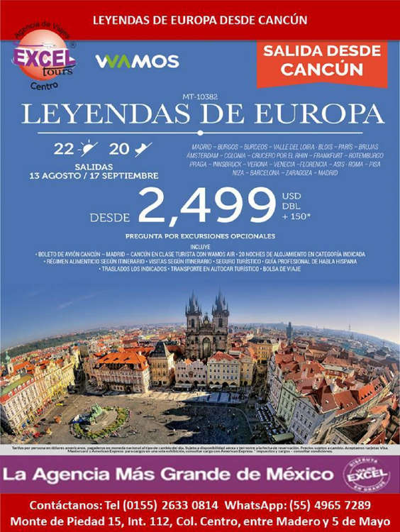 Ofertas de Excel Tours, Leyendas de Europa