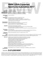 Ofertas de BMW, Ficha Técnica BMW 120iA (3 puertas) Sport Line Automático 2017