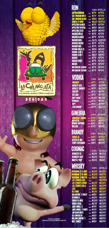 Ofertas de La Chilanguita, Menú bebidas