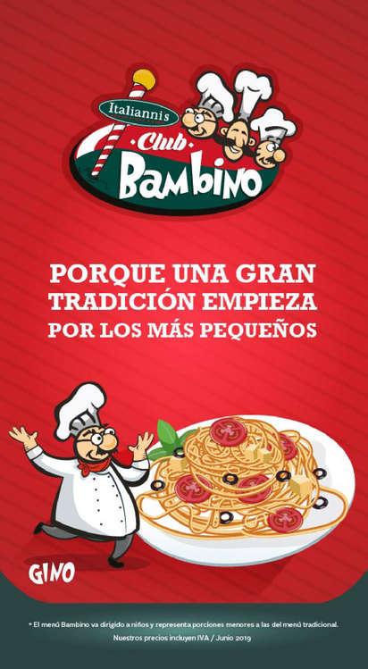 Ofertas de Italianni's, Menú Club Bambino