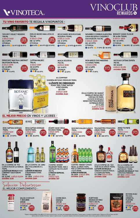 Ofertas de Vinoteca, Vinoclub rewards