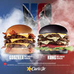 Ofertas de Carl's Jr, Godzilla Big Angus Burger y Kong Big Angus Burger