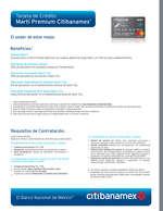 Ofertas de Citibanamex, Tarjeta de crédito Martí Premium Citibanamex