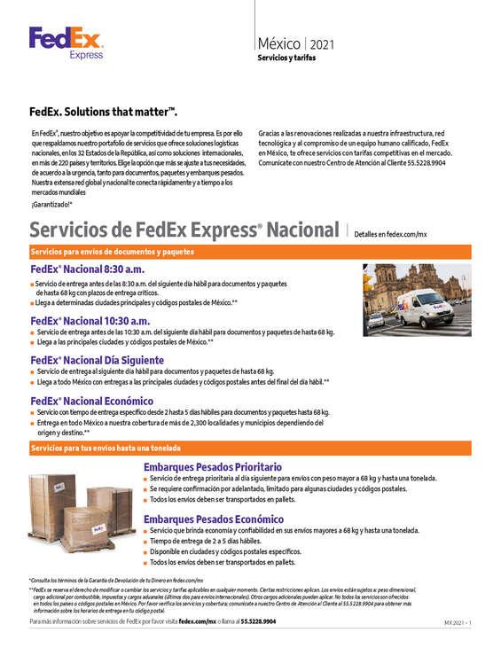 Ofertas de Fedex, Servicios y tarifas México 2021
