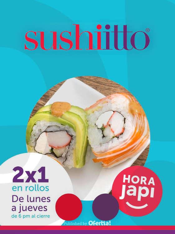 Ofertas de Sushi Itto, Hora Japi 2x1 en rollos